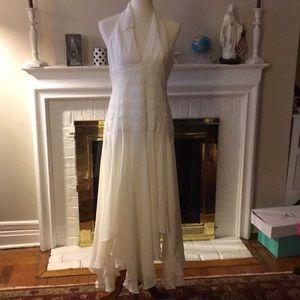 Bcbg maxazria cocktail cream silk dress